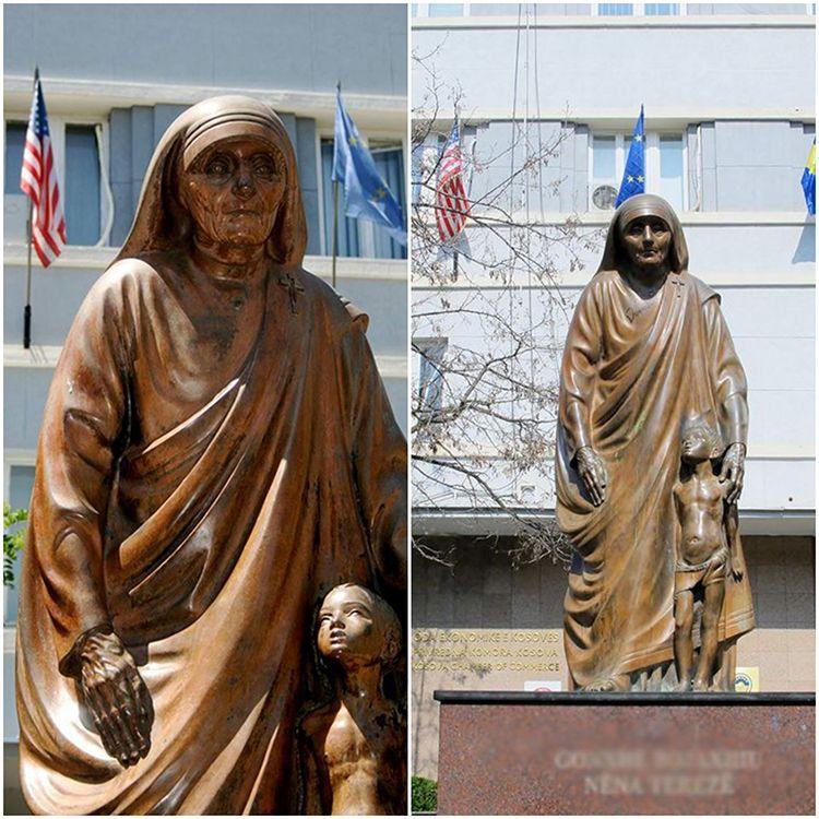 Outdoor bronze standing Teresa religious saint sculpture with boy
