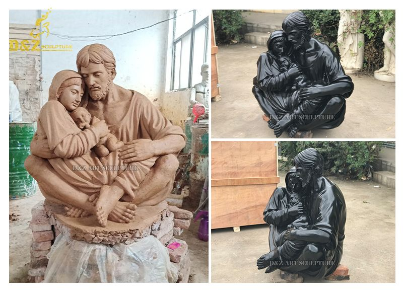 Park decoration bronze statues of St. Joseph Mary and Jesus family for sale