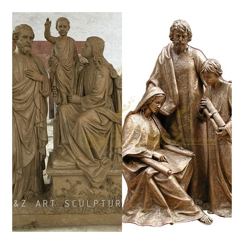 Life-size brass statues of the Holy Family for sale