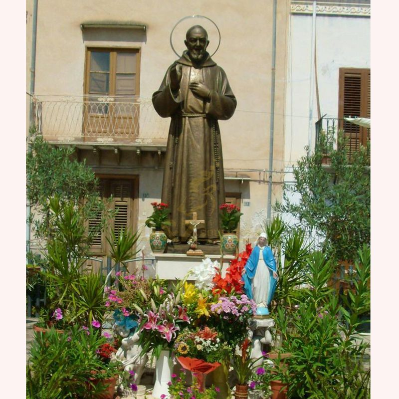 Large bronze statue of Saint Padre Pio used for religious decoration